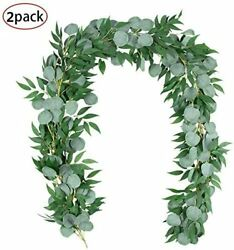 2Pcs 6.5 Ft Artificial Silver Dollar Eucalyptus Leaves Garland with Willow Vines $18.99