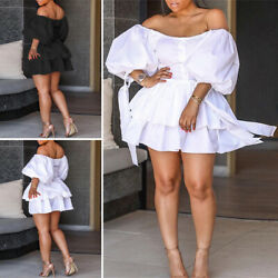 Womens Off Shoulder Holiday Sexy Party Dresses Summer Beach Sundress Long Tops $17.81