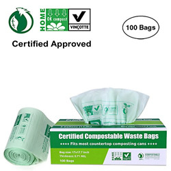 Primode 100% Compostable Bags 3 Gallon Food Scraps Yard Waste Bags 100 Count $19.76