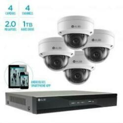 Alibi 2MP Four Dome Camera IP System with 4 Channel NVR and 1TB Storage $1059.99
