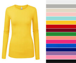 Women#x27;s Basic Long Sleeve Top Slim Fit Stretch Crew Neck T shirt Plain Cotton $10.99