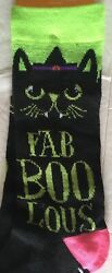 Novelty Halloween Fab Boo Lous Cat Crew Sock Size 9 11 NEW $4.00