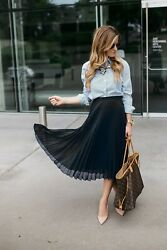 Women#x27;s Full Flared Chiffon Pleated High Waist Midi Calf Skirt Lined Long Solid $13.94
