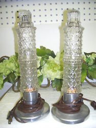 ANTIQUE LAMPS GLASS WITH FILAMENT TUBE LIGHT BULBS SET 2 $379.99