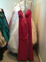 PROM pageant dress lace up back beaded unknown designer fuchsia 1516 w train $31.20