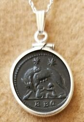 Emperor Constantine the Great She Wolf URBS Roma Ancient Coin Silver Necklace