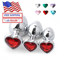 Anal Butt Toy ROUND STAINLESS Steel S M L Insert Plug Butt Metal Heart 1PC $8.99