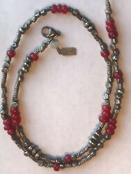 Antique Red White Heart African Bead Sterling Necklace 20.5 quot; 34gr.Signed $95.00