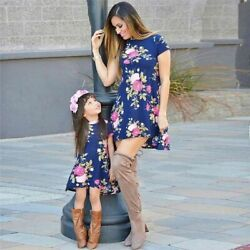 Mommy and Me Family Matching Dress Mother Daughter Floral Boho Dresses Short New $17.96