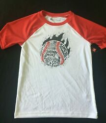 UNDER ARMOUR BOYS BASEBALL RED WHITE RAGLAN LOOSE FIT SHIRT SPORTS 7 NEW $12.99