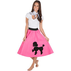 Adult Poodle Skirt Hot Pink with Musical note printed Scarf $19.99