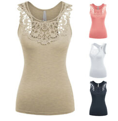 S L Women Boho Crochet Scoop Neck Tank Top Sleeveless Soft Cotton Stretch Knit $12.99