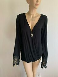 BLACK JERSEY KNIT CROSS OVER SCOOP NECK LACE LONG SLV TOP WOMAN SIZE S $12.59