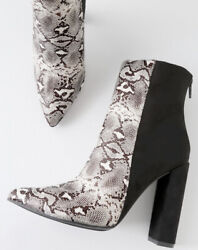 Sexy Snakeskin Heels 8.5  Designer Brand New Boot Black And Grey Luxury Snake $45.00