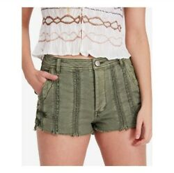 NWT $88 Free People SIZE 0 Moss Green Lace Frayed Hem Denim Shorts Boho Festival $35.00