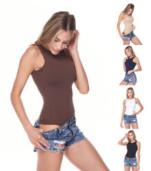 Women#x27;s Basic Crew Neck Sleeveless Solid Color Stretchy Seamless Bodysuit Top $11.99
