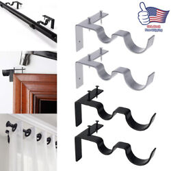 New Kwik Hang Double Center Support Curtain Rod Bracket Into Window Frame Right $10.99