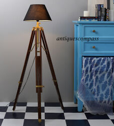 Handmade Floor SHADE LAMP Brown Tripod Nautical Vintage Designer Home Decor $98.00