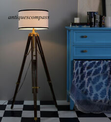 Floor SHADE LAMP Brown Wooden Tripod Stand Nautical Antique Designer Home Decor $98.00