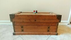 Antique Biedermeier style SPECIMEN CHEST Yale amp; Towne lock Brass fittings $1000.00