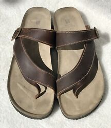 White Mountain Women#x27;s Carly Brown Leather Comfort Flip Flops Thong Sandals 12 M $21.00