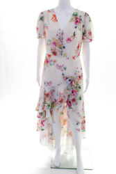 Yumi Kim Womens Short Sleeve Floral Tiered High-Low Dress Beige Size Large $71.01