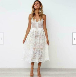 White Lace Midi Summer Dress Occident Runway Womens Sexy Party Lace Dresses BOHO $29.95