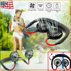 Portable Neckband Dual Cooling Mini Fan USB Rechargeable Lazy Neck Hanging Style $11.68