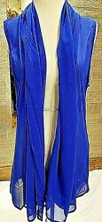 One Size Plus Women#x27;s Sheer Sleeveless Kimono Royal Blue Boutique NWT Summer $22.95