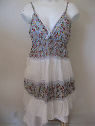 Womens White Floral Sundress M Runway Paris Crinkle Twisted Lace Trim Dress NEW