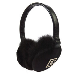 CHANEL CC Logos Ear Muffs Ear Warmers Black Fur Accessory Authentic YG02033j $931.00