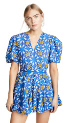 Rhode Resort Vivienne Mini Dress Floral Printed Blue Cotton Holiday XS NW 202960 $249.93