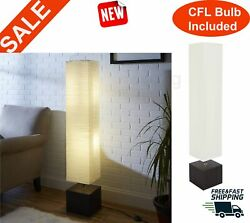 Modern Minimalist Floor Lamp White Rice Paper Shade Reading Light Tall Square $48.98