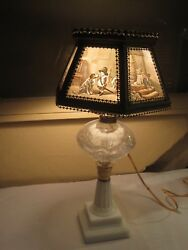 Antique Lamp Colored Lithophane Lamp Six Panel All Children PPM $799.99