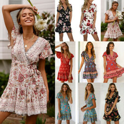 Women Summer Boho Floral Short Sleeve V-Neck Mini Dress Holiday Wrap Sundress $14.15