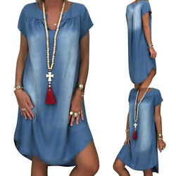 Plus Size S-3XL Lady Short Sleeve Summer Loose Denim Midi Women Jeans Dress New $17.99