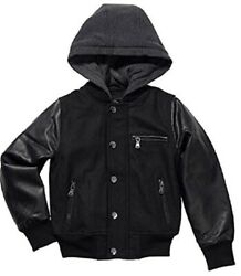 Urban Republic Boys Novelty Varsity Leather Hooded Jacket Black $29.99