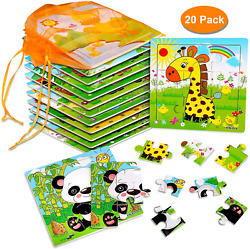 20 Pack Wooden Jigsaw Puzzles for Toddlers Baby Kids 3 4 5Years Old Color Shape $22.50