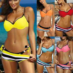Women Push Up Padded Bra Bikini Set Shorts Swimming Suit Beach Swimwear Swimsuit $20.04
