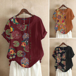 ZANZEA Women Crew Neck Top Flower Short Sleeve Floral T Shirt Blouse Holiday New $13.49