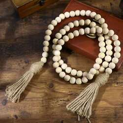 Wall Rustic Hanging Wood Bead Garland with Tassels for Home Wedding Decor $7.99