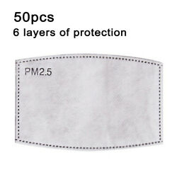 50PCS Insert PM2.5 Carbon Activated Filter for Face Adult Mask Replace Breath $12.99