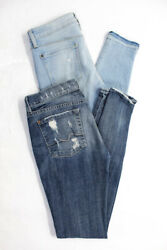 7 For All Mankind Genetic Denim Womens Skinny Jeans Blue Size 25 27 Lot 2 $24.01