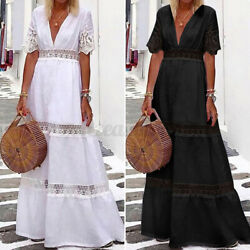 Womens Flared Sleeve Kaftan Holiday Party Dresses Patchwork Sexy Beach Sundress $19.59