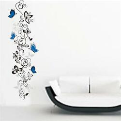 Black and Blue Flower Vine Wall Stickers Decal Vinyl Bedroom Home Stickers LI $6.62