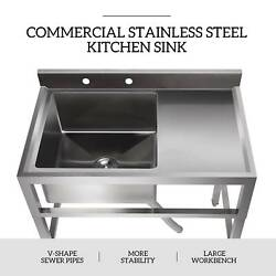 1 Compartment Commercial Restaurant Prep Sink Kitchen Sink w. Drain Board $253.99