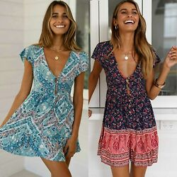 Ladies Vintage Boho V-Neck Mini Dress Short Sleeve Summer Holiday Beach Sundress $12.34