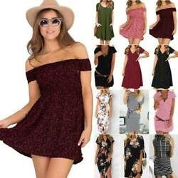 Womens Boho Summer Holiday Mini Dress Casual Party Short Sleeve T Shirt Dresses $15.19