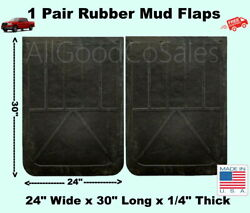 Black Rubber Truck Mud Flaps 1 Pair 24quot; Wide x 30quot; Long x 1 4quot; Thick NEW