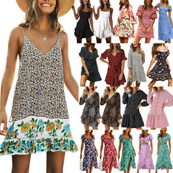 Womens Summer Floral Mini Tea Dress Beach Holiday Casual V Neck Shift Sundress $12.72